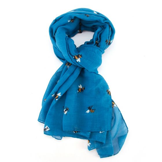 Turquoise Bee Print Scarf