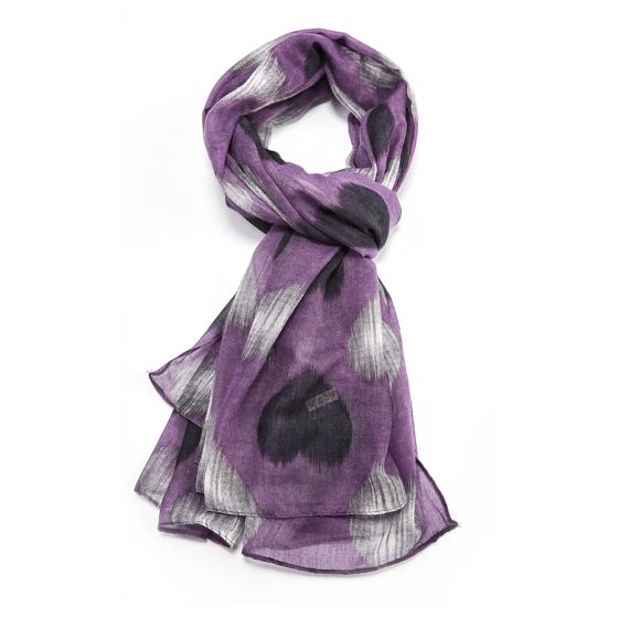Purple, Heart Print Scarf