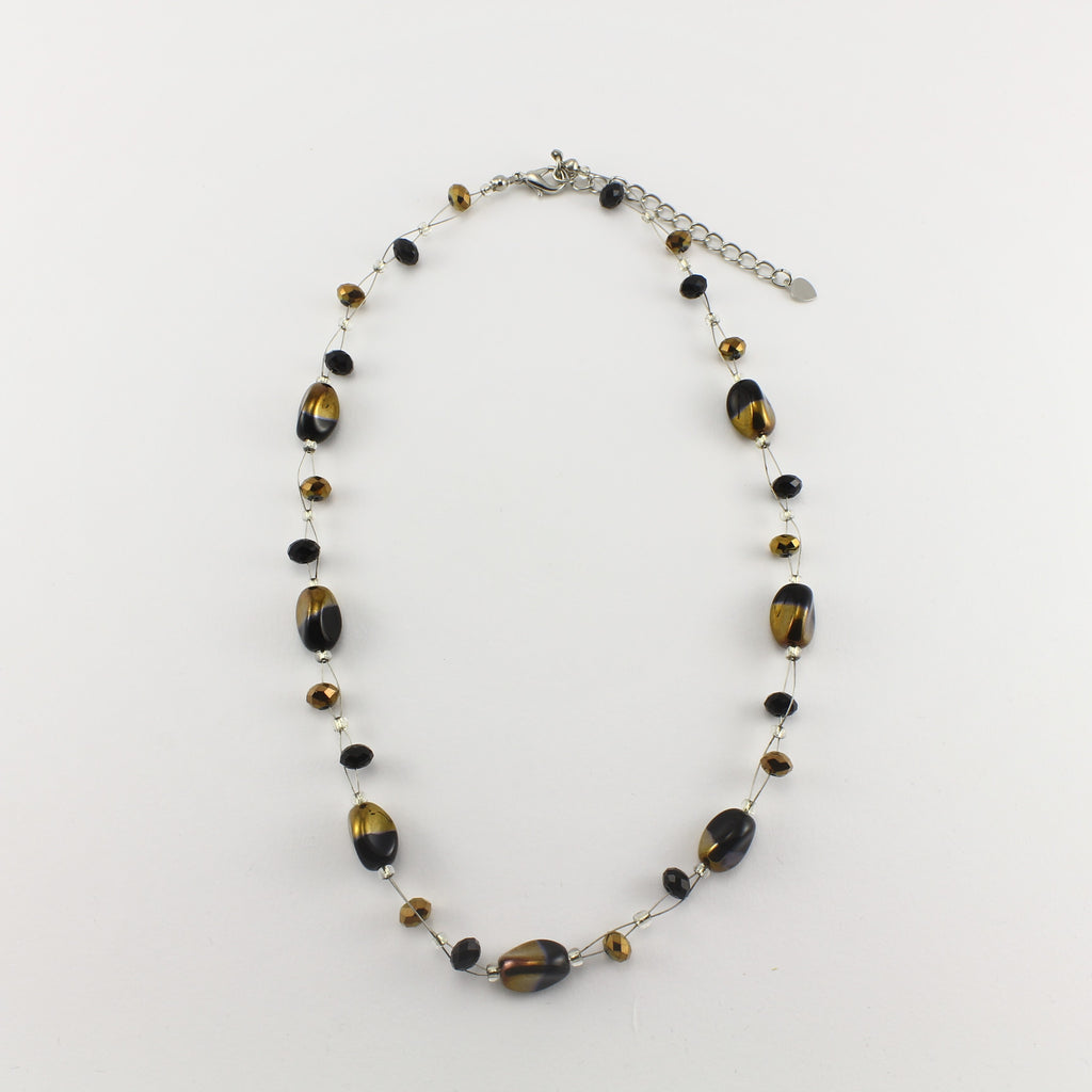 SWN0029BK - ALICE - Black/Gold Glass Crystal Necklace