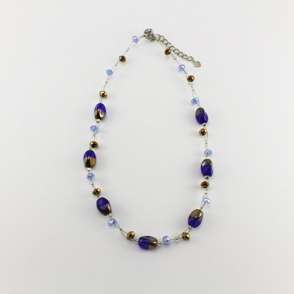 SWN0029BL - ALICE - Blue/Gold Glass Crystal Necklace