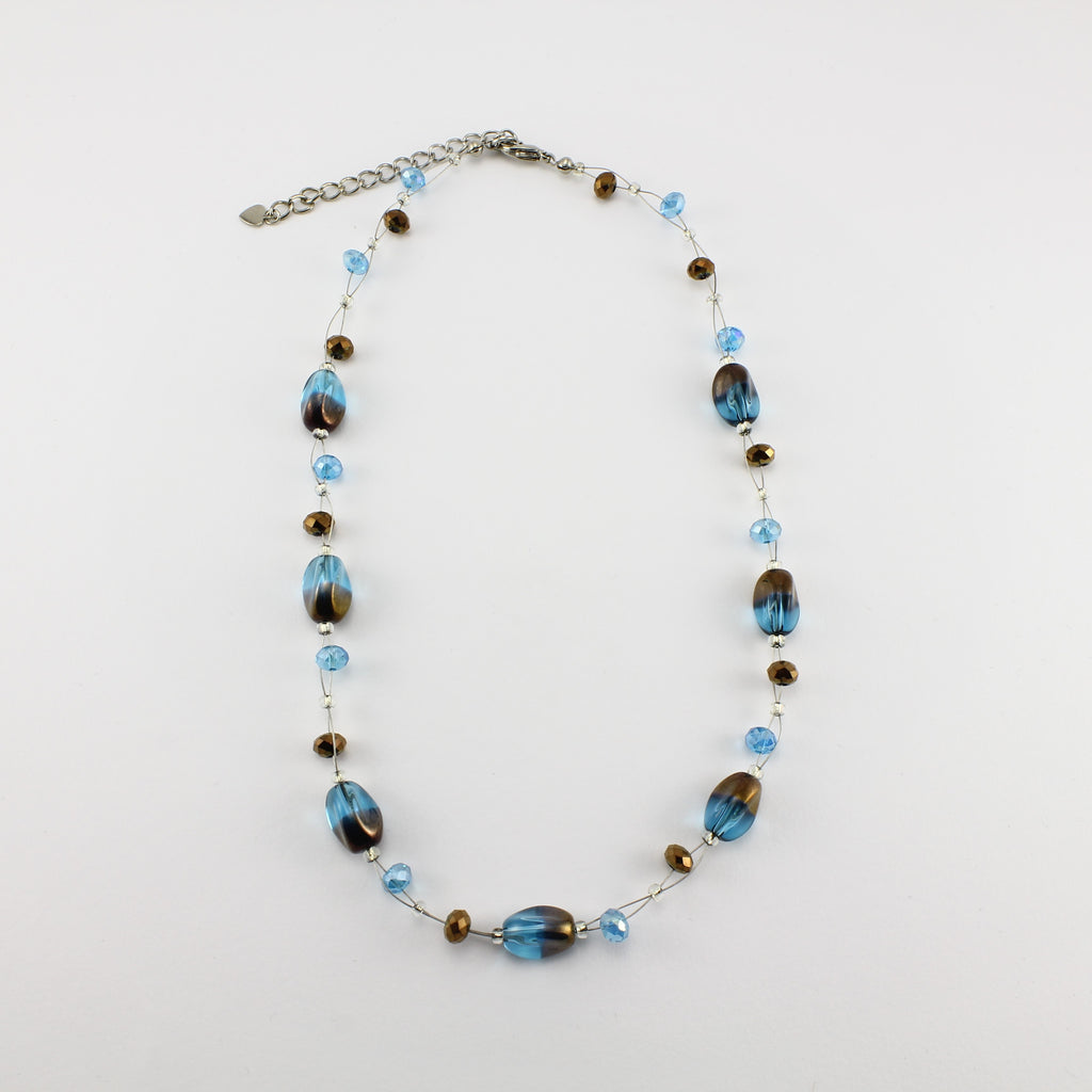 SWN0029TU - ALICE - Turquoise/Gold Glass Crystal Necklace