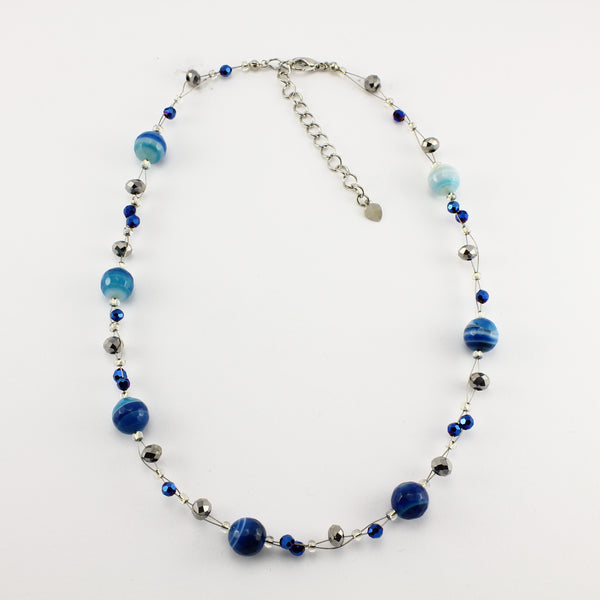 SWN0013BL - EMMA - Blue Agate Stone Necklace