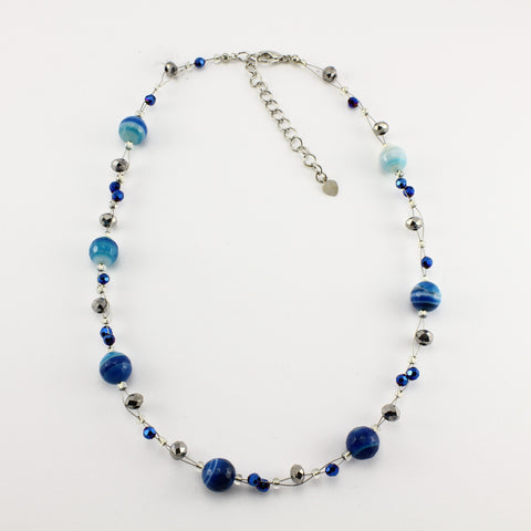 SWN0013 - EMMA - Blue Agate Stone Necklace