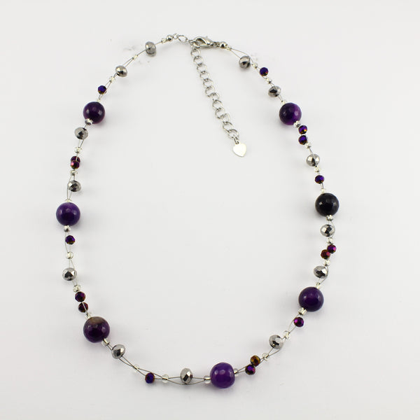 SWN0013PU - EMMA - Purple Agate Stone Necklace