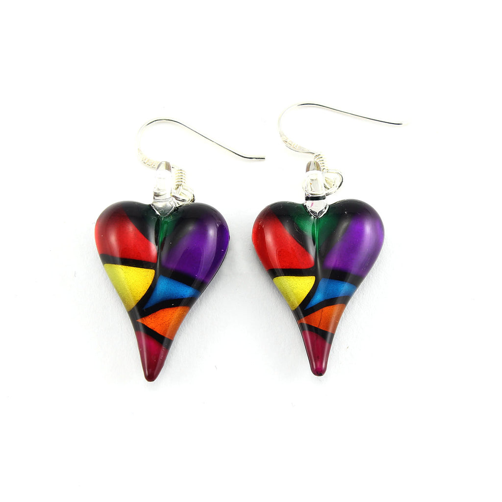 SWE551 - Multi-colour Glass Heart Drop Earring