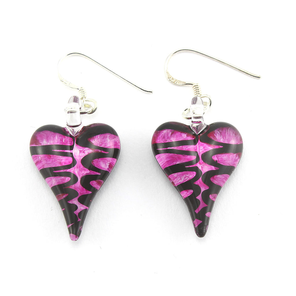 SWE552 -  FUSHIA HEART GLASS DROP EARRINGS