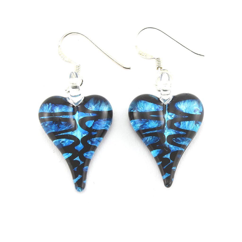 SWE553 - Blue Glass Heart Drop Earring