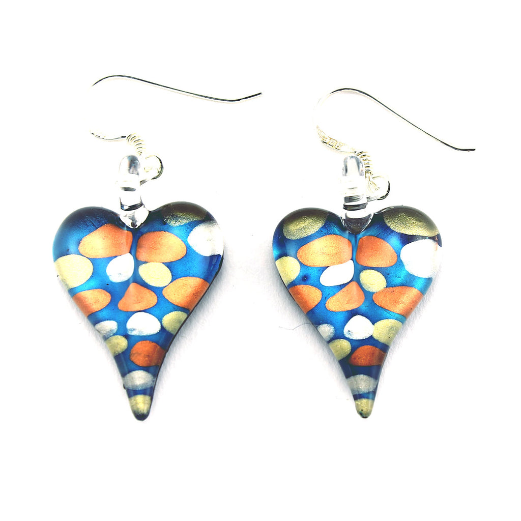 SWE555 - Blue Glass Heart Drop Earring
