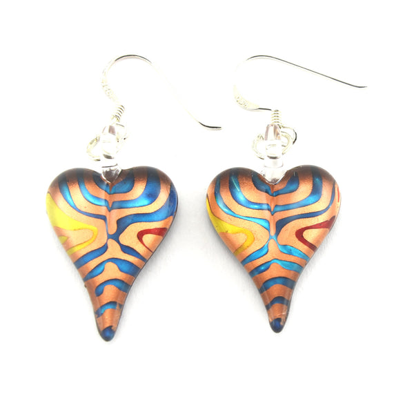 SWE556 - Multi-colour Glass Heart Drop Earring