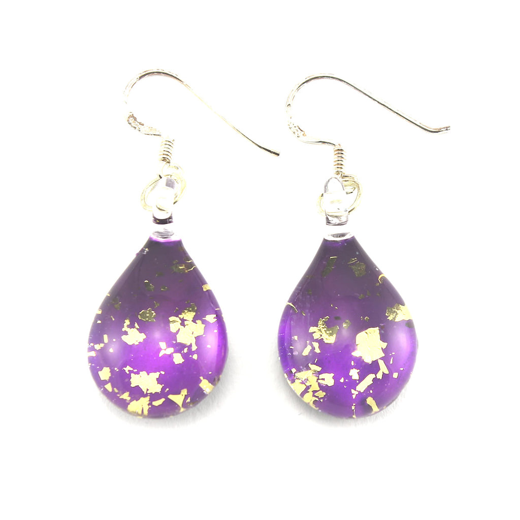 SWE558 - Purple Glass Teardrop Gold Fleck Drop Earring