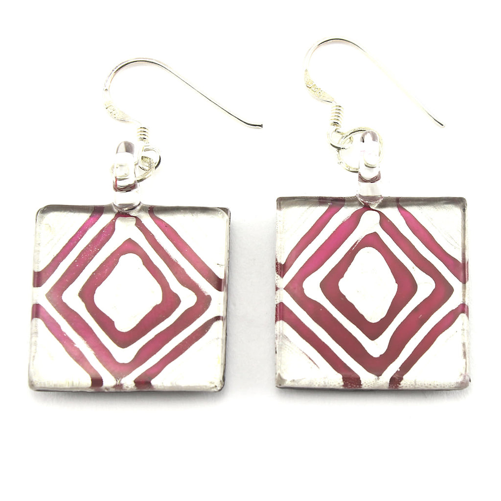 SWE560 - Burgundy Glass Square Drop Earring