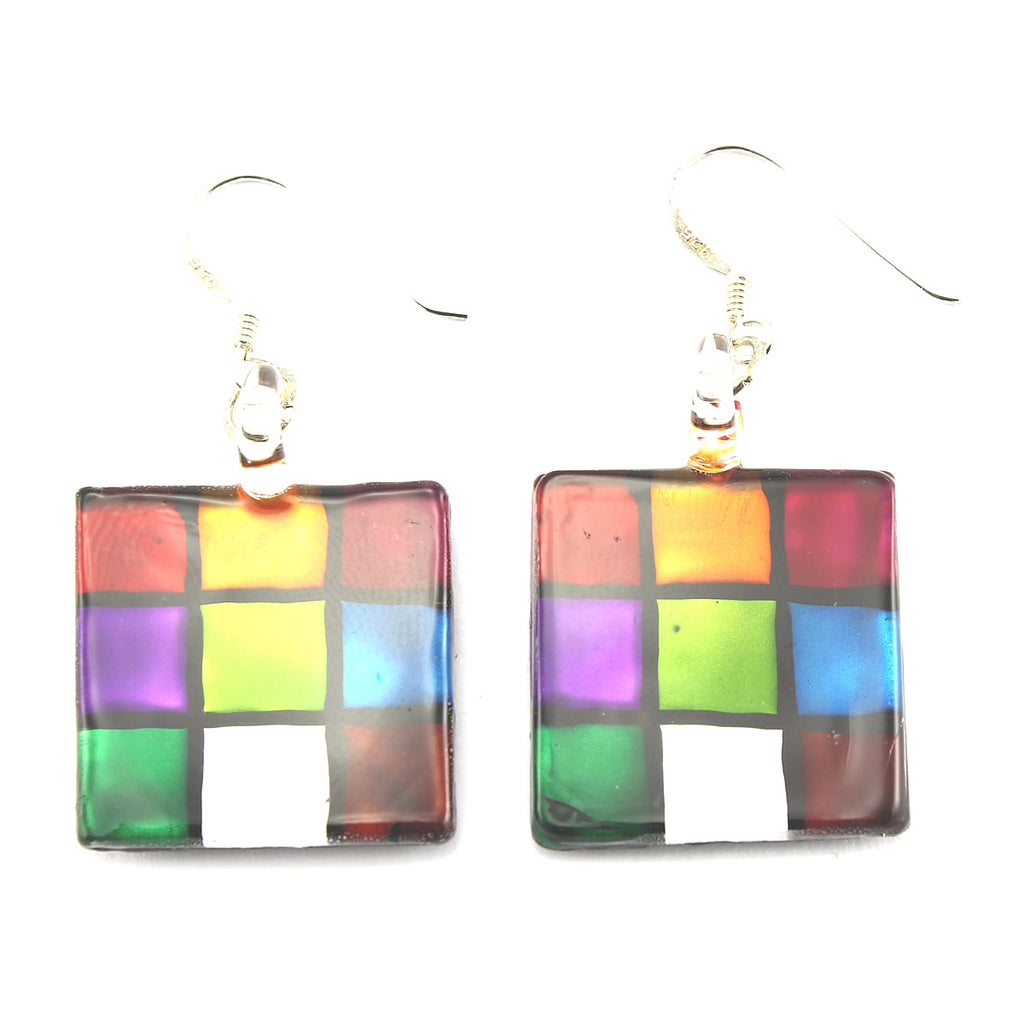 SWE563 - Multi-colour Glass Square Drop Earring