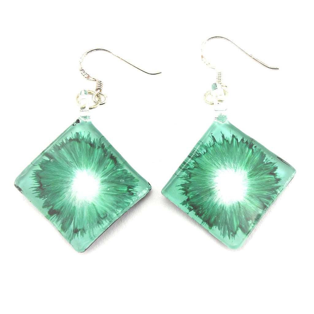 SWE564 - Green Glass Diamond Drop Earring
