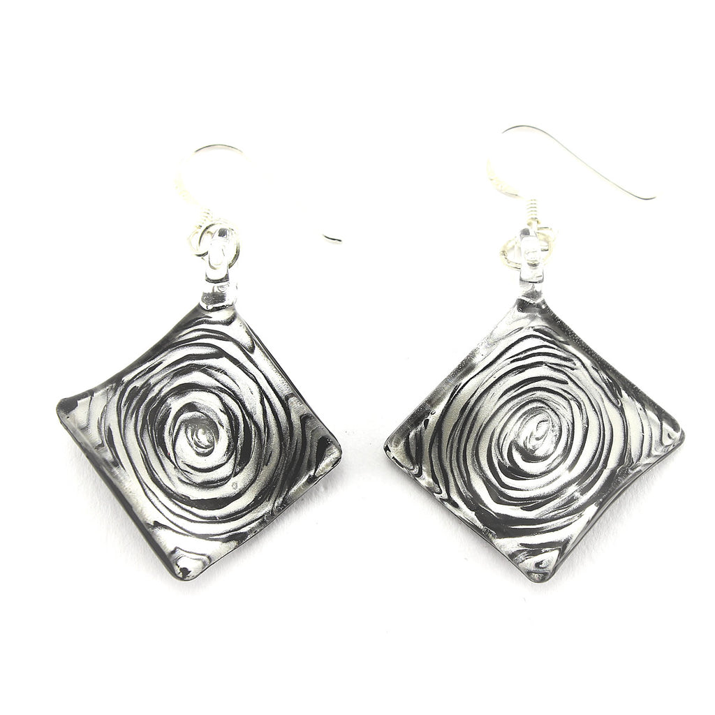 SWE567 - Black Swirl Glass Diamond Drop Earring