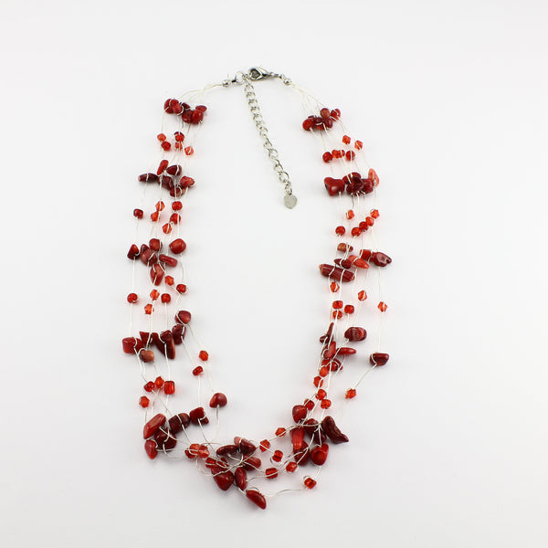 SWN0060CO - MIA- Red Coral Necklace