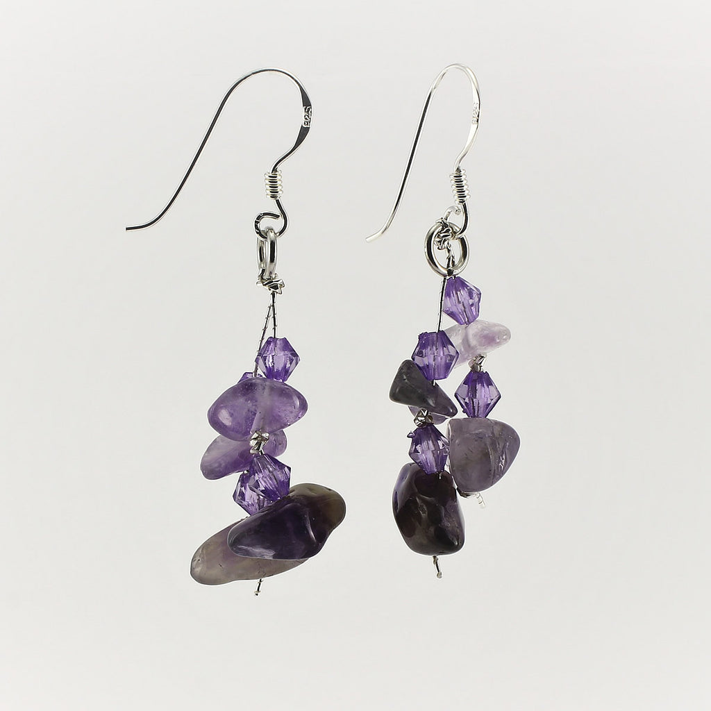SWE0060AM - MIA - Amethyst Gemstone Drop Earrings
