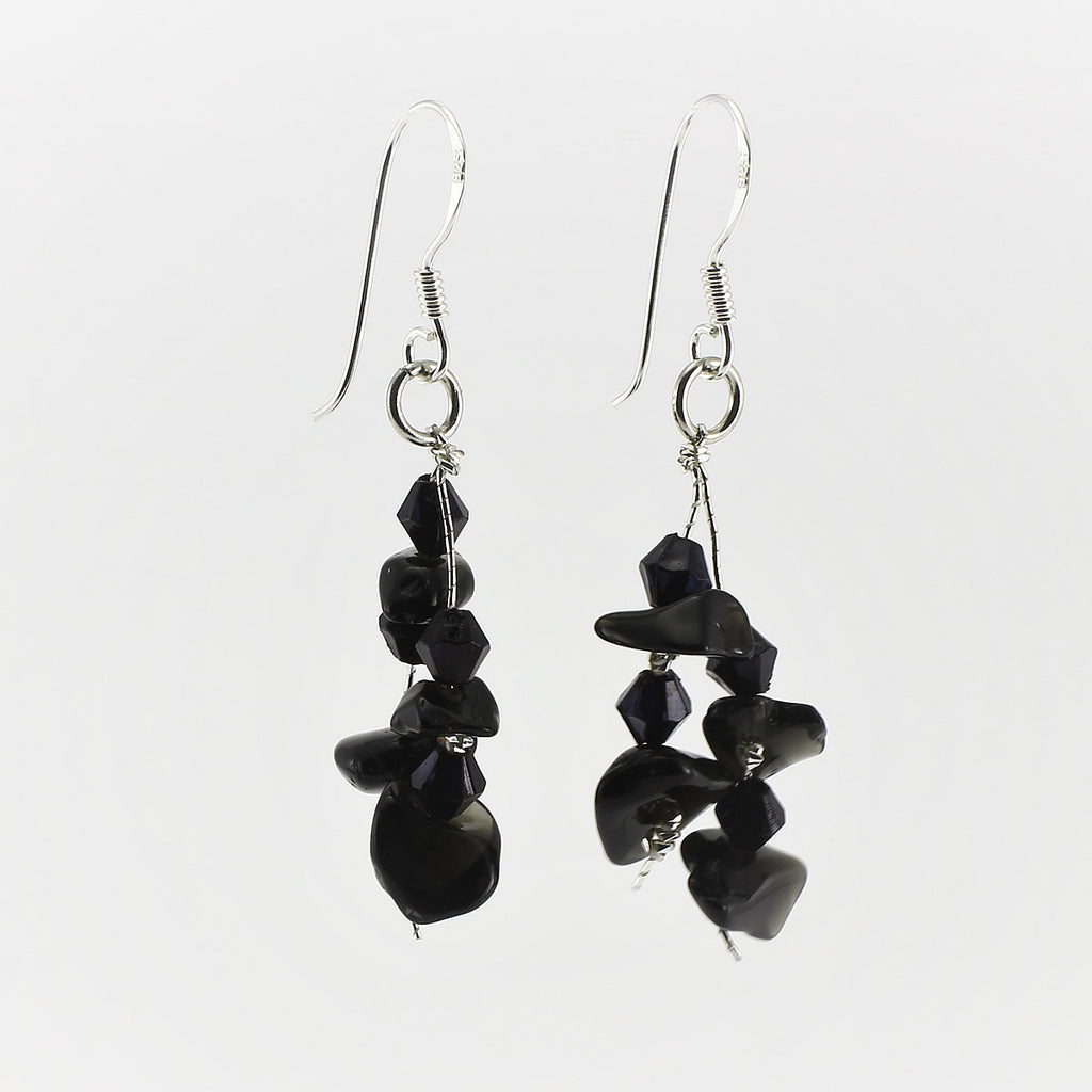SWE0060ON - MIA - Black Onyx Gemstone Drop Earrings