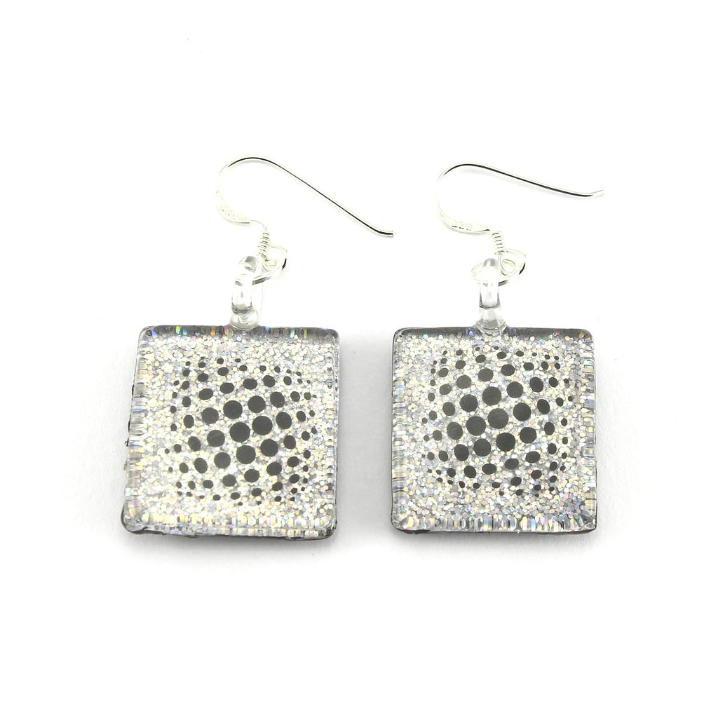SWE562 - Black Glass Dotty Sparkle Drop Earring
