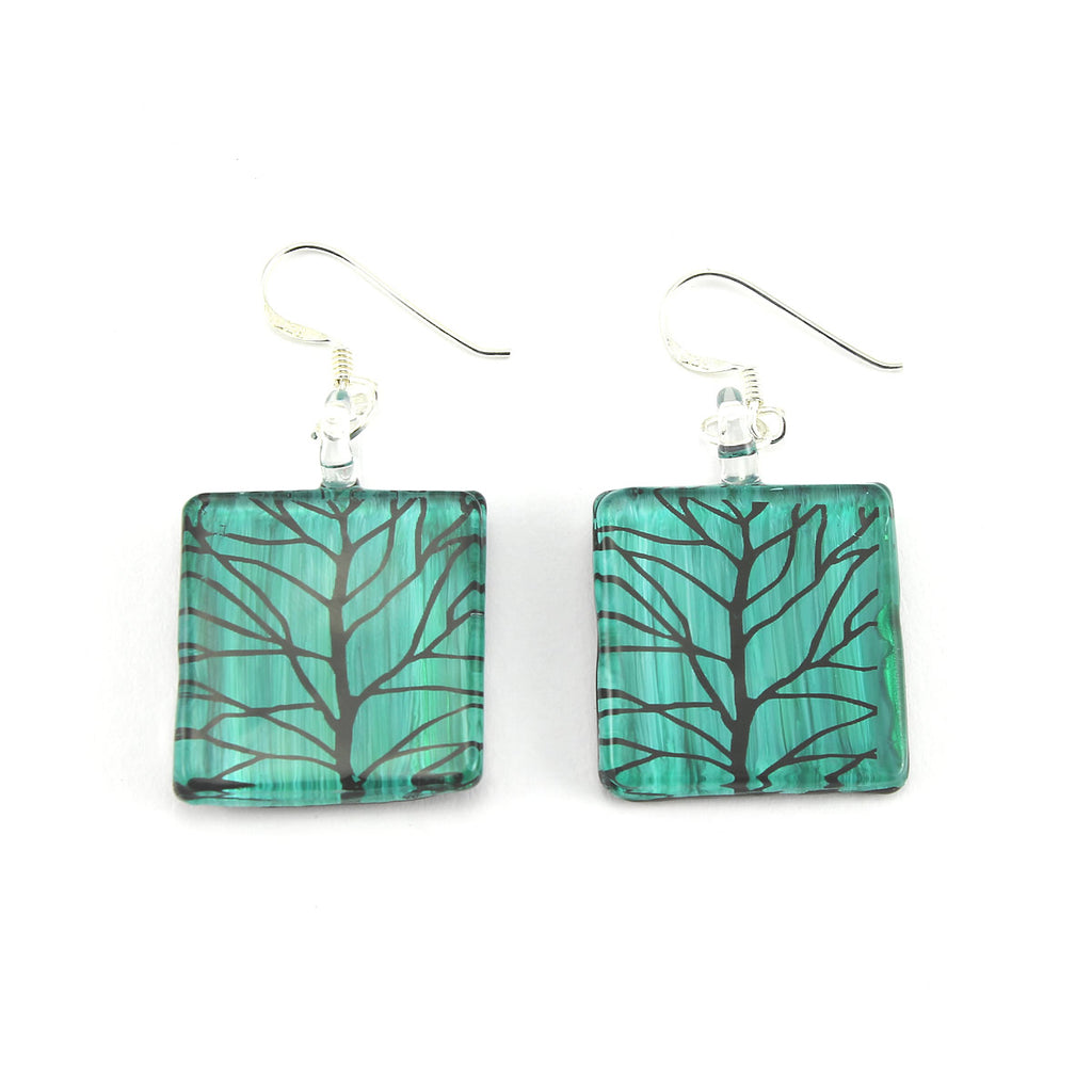 SWE561 - Green Glass Square Branch Drop Earring