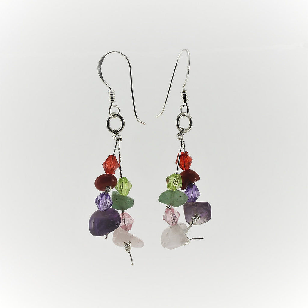 SWE0060MU- MIA - Multi Coloured Gemstone Drop Earrings