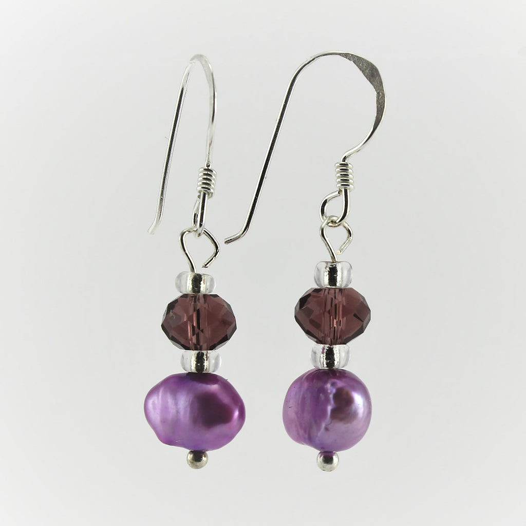SWE0017PU - SOPHIE - Purple Freshwater Pearl Drop Earrings