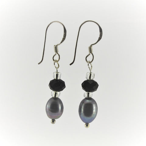 SWE0017GY - SOPHIE - Grey Freshwater Pearl Drop Earrings