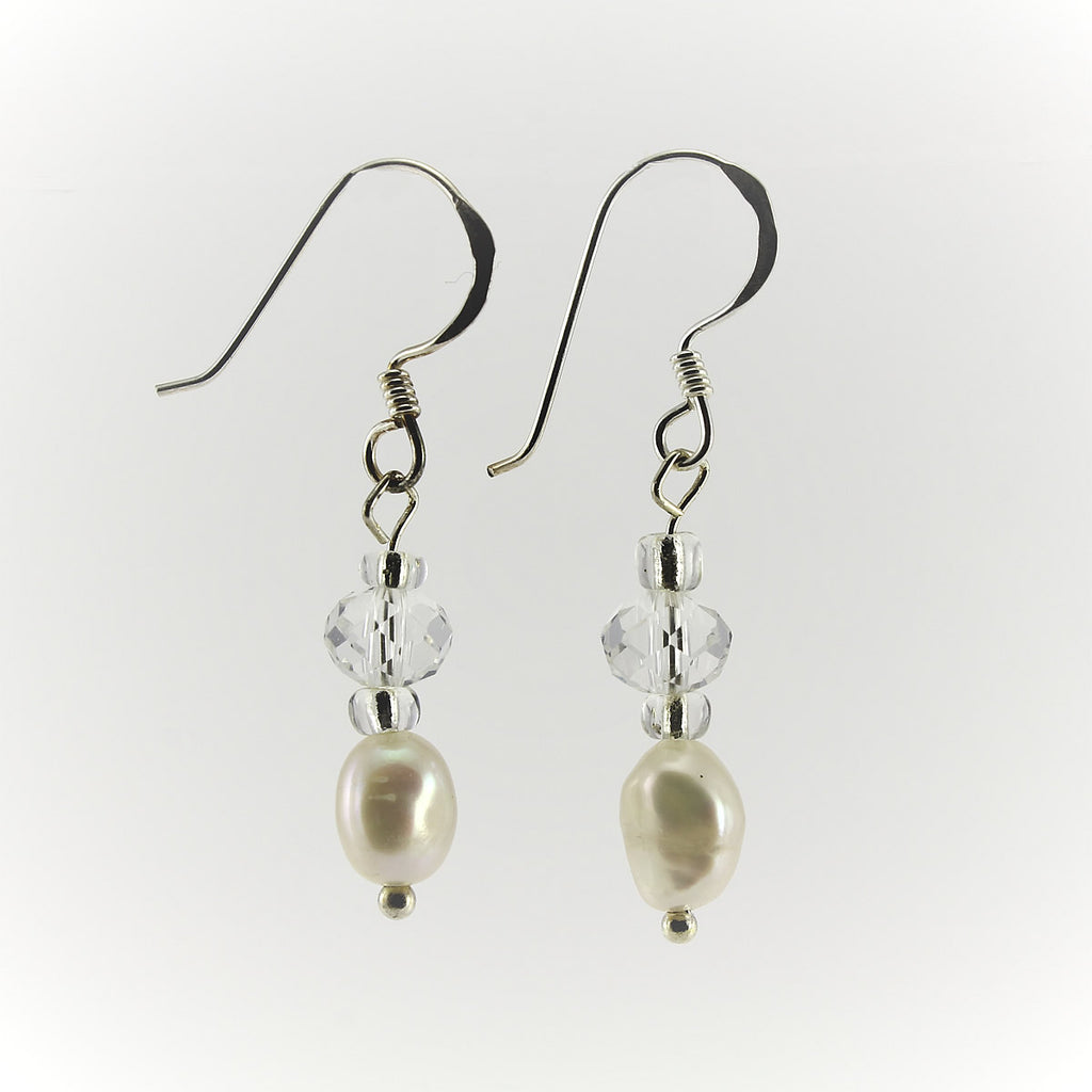 SWE0017WH - SOPHIE - White Freshwater Pearl Drop Earrings
