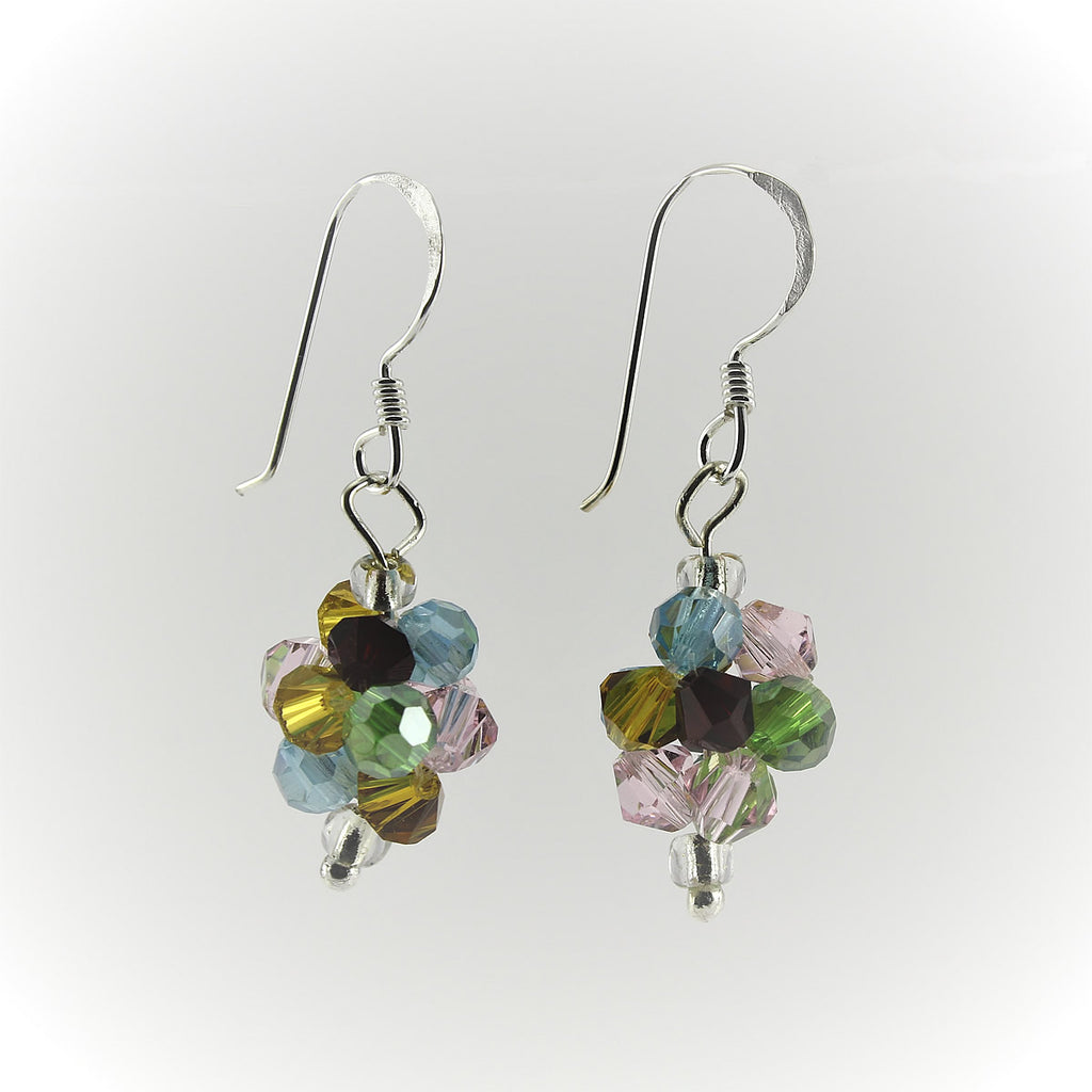 SWE0008MU - OLIVIA - Multi Coloured Glass Crystal Drop Earrings