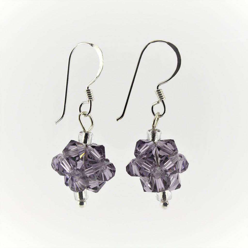 SWE0008PU - OLIVIA - Purple Glass Crystal Drop Earrings