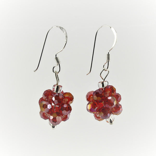 SWE0008RE - OLIVIA- Red Glass Crystal Drop Earrings