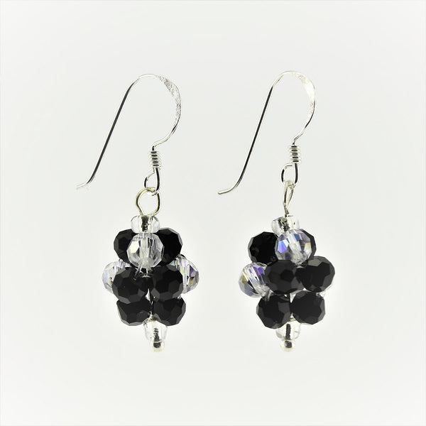 SWE0008BK - OLIVIA - Black Glass Crystal Drop Earring