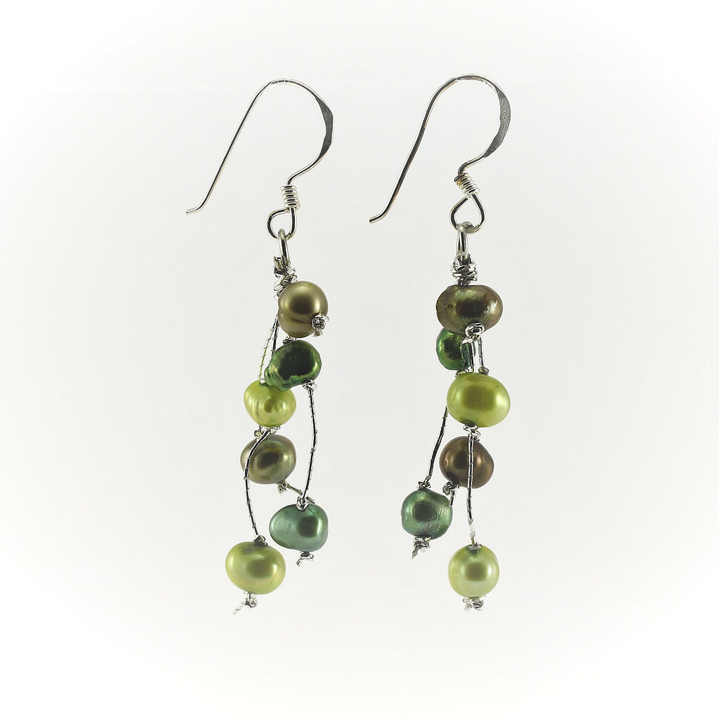 SWE0050GN - MILLY - Olive Green Freshwater Pearl Drop Earrings
