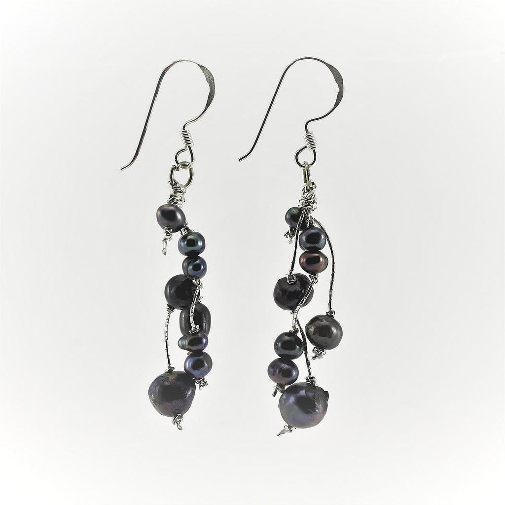 SWE0050GY - MILLY - Grey Freshwater Pearl Drop Earrings