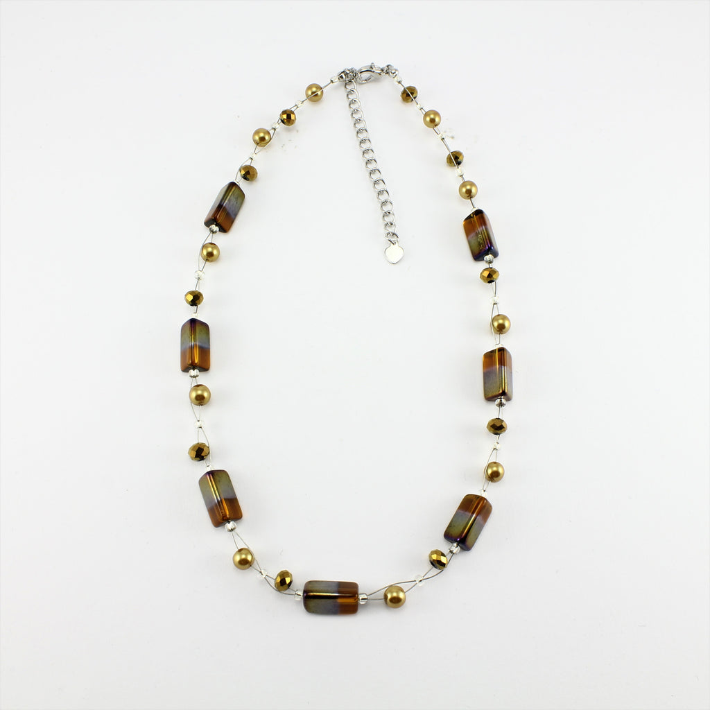 SWN0043GO - PIPPA - Gold Rectangle Glass Crystal Necklace