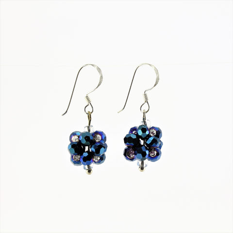 SWE0008BL - OLIVIA - Navy Blue Glass Crystal Drop Earrings
