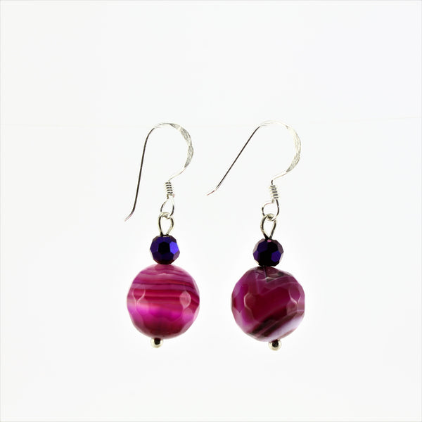 SWE0013PI - EMMA - Fushia Pink Agate Stone Drop Earrings