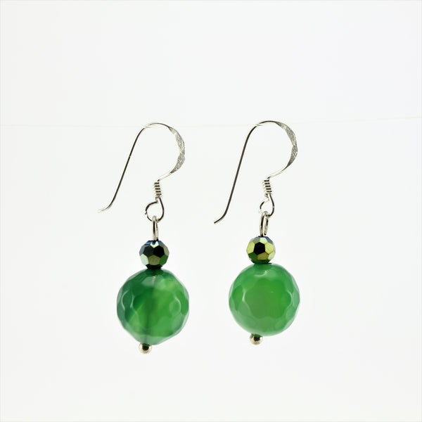 SWE0013GN - EMMA - Green Agate Stone Drop Earrings