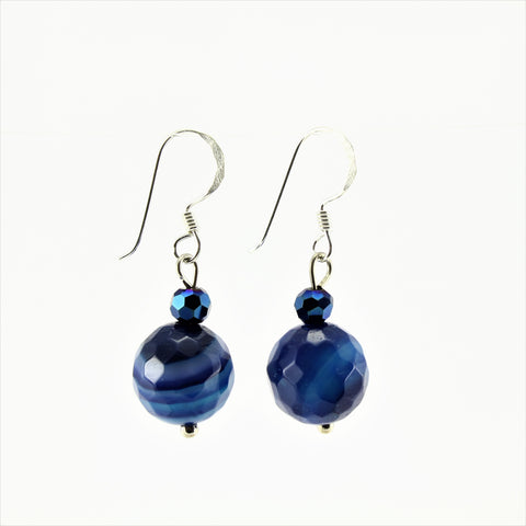 SWE0013BL - EMMA - Blue Agate Stone Drop Earrings