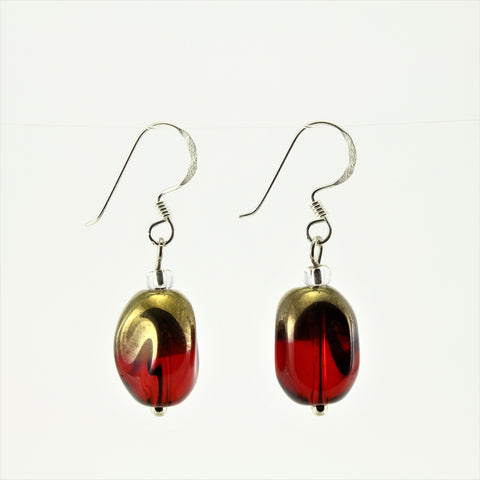 SWE0029RE - ALICE - Red/Gold Glass Crystal Drop Earrings