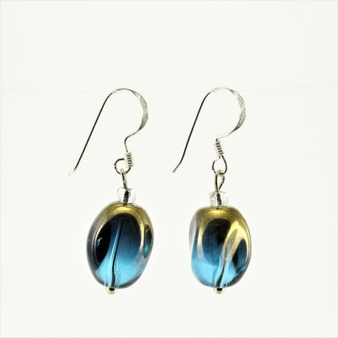 SWE0029TU - ALICE - Turquoise/Gold Glass Crystal Drop Earrings