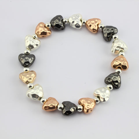 SWB001 - Fashion Rhodium Plated Bracelet - Silver, Rose Gold , Grey Brushed Metal