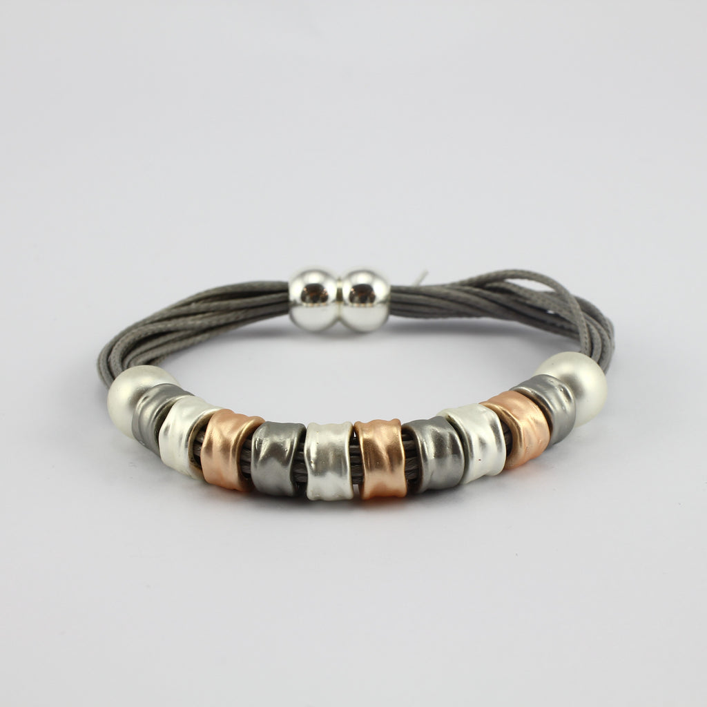 SWB041 - Fashion Faux Leather Bracelet - Silver, Grey, Rose Gold