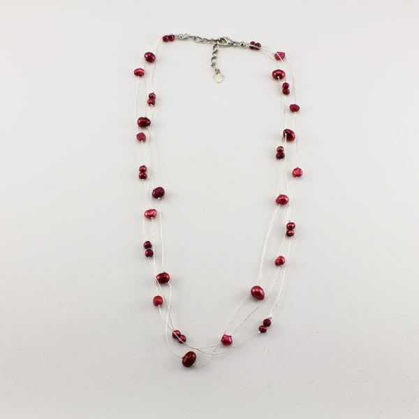 SWN0050RE - MILLY - Red Freshwater Pearl Necklace