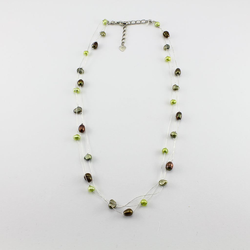 SWN0050GN - MILLY - Olive Green Freshwater Pearl Necklace