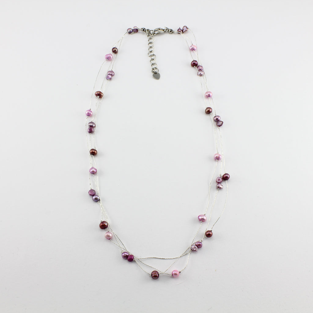 SWN0050PU - MILLY - Purple Freshwater Pearl Necklace