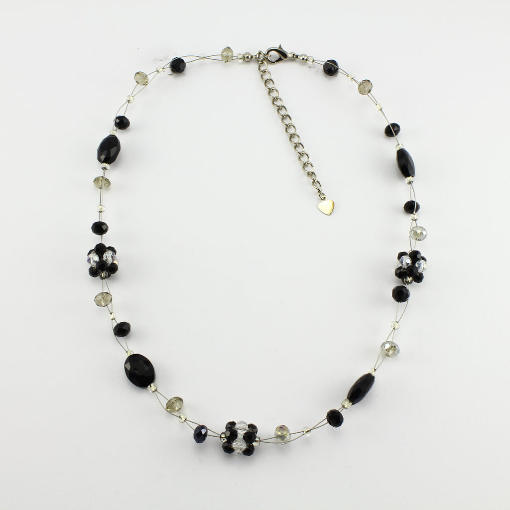 SWN0008BK - OLIVIA - Black Glass Crystal Necklace