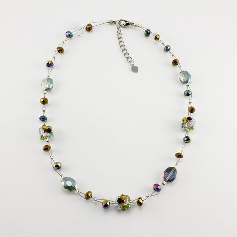 SWN0008MU - OLIVIA - Multi Coloured Glass Crystal Necklace