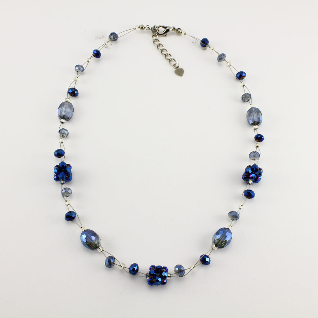SWN0008BL - OLIVIA - Navy Blue Glass Crystal Necklace