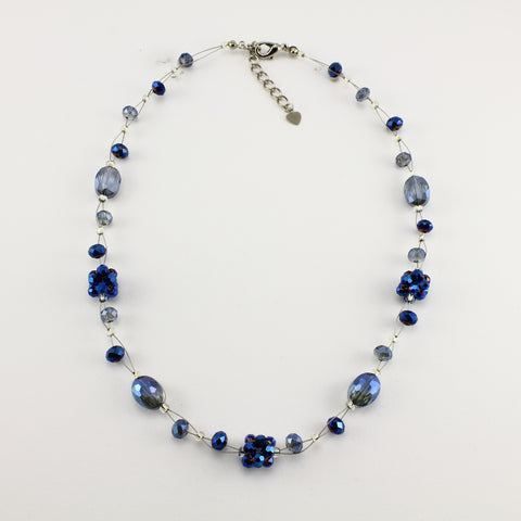 SWN0008 - OLIVIA - Navy Blue Glass Crystal Necklace