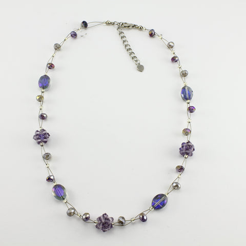 SWN0008PU - OLIVIA - Purple Glass Crystal Necklace